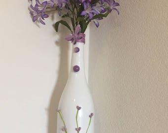 Decorative wine bottle, Purple and white wine bottle, Wine bottle decor, Wine bottle centerpiece, Wine bottle vase,