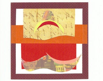 Orange wave.  Orange, red and yellow combine in this original collage.  Square unframed artwork.  Affordable and small enough for any wall.