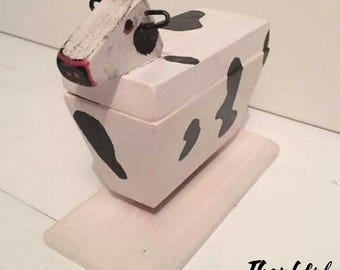 Handmade, hand painted 'moo cow' sculptures/ door stop
