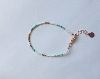 Rose Gold Bracelet with Miyuki Beads / Dainty Bracelet, Beaded Bracelet, Minimal Bracelet