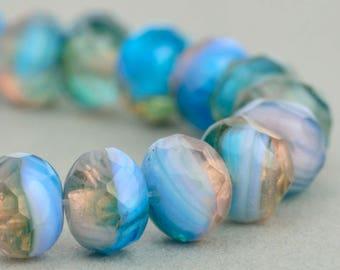Czech glass Rondelle (7x5mm) Aqua Purple Mix Opaque Transparent , (10 beads), UK beads
