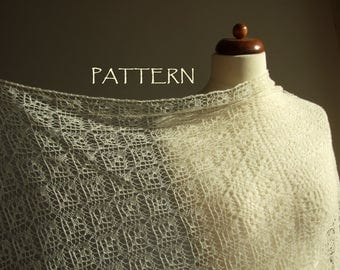 delicate lace shawl pattern, triangle shawl pattern, knitting tutorial, pdf instant download, DIY