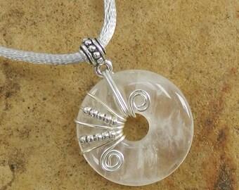 Wire wrapped Gemstone necklace,ROSE QUARTZ Pendant,Rose Quartz Donut Necklace,Rose Quartz Gemstone Necklace,Rose Quartz jewelry