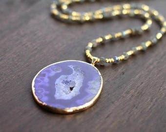 Blue Druzy Geode and Labradorite Gemstone Necklace