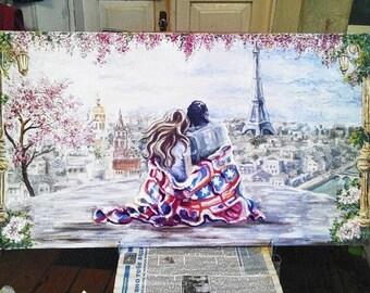 Eiffel Tower oil painting. .Original oil painting. Paris painting. Lovers in Paris