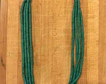 Turquoise Afghan Necklace, Tiny Seed  Necklace, Small Bead Necklace, Multistrand