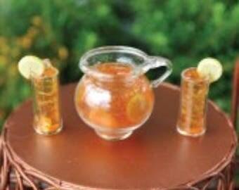 Fairy Garden Dollhouse Miniature Iced Tea Set 3 Pc