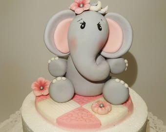 Baby Elephant Fondant Cake Topper Sitting on a Finished Cake Board, Baby Shower Pink and Gray Elephant Fondant Cake Topper