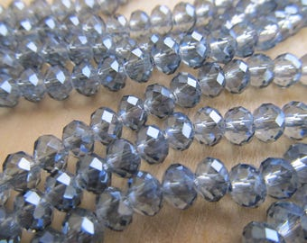 Lot of 10 beads abacus in Crystal grey steel 6 x 4 mm