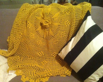 Handmade Mustard Yellow Cotton Crochet Blanket, Throw, Table Cloth or Mat