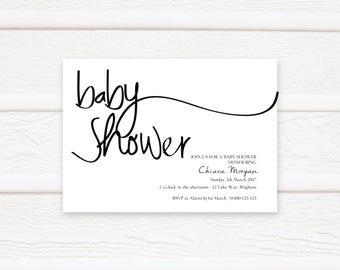 Baby Shower Invitation, Printable Baby Shower Invitation, Baby Shower Invites, Black and White Baby Shower Invitations