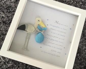 Baby Boy Stork Frame