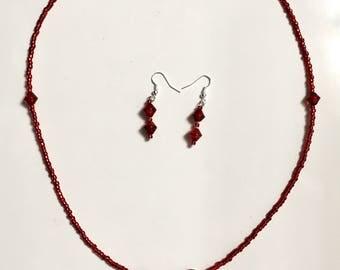 Red Elegance necklace/earring set