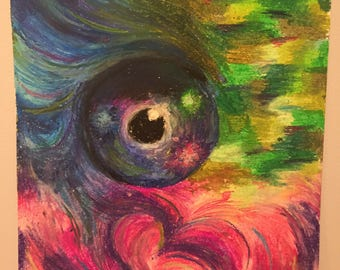 Eye of The Beholder - colourful eye surrounded by swirls, oil pastels