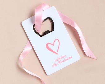 Personalized White Wedding Credit Card Bottle Opener