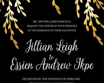 Custom Gold Foil Wedding Invitation