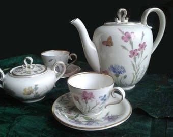 Vintage - Krautheim, Wiesengrund and Bergeshöh.n / Bavaria - tea set - porcelain - cups, 7 - set