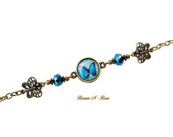 Blue butterflies during bronze glass bracelet orange