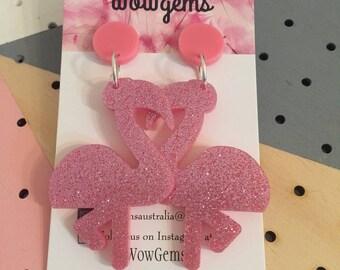 Flamingo pink dangles
