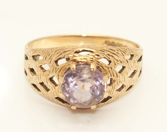 Vintage 1975 9Ct Yellow Gold Amethyst Lattice Design Signet Style Ring, Size N