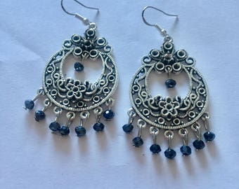 Silver Black Chandelier Dangly Earrings with Swarovski Crystals On Sterling Silver Ear wires.