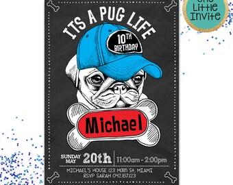 Pug Invitation // Pug  Birthday Card // Pug Invite // Pug Invites  // Pug Life // Pug Gifts // Puggle