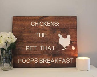 Sign -Chickens: the pet that poops breakfast sign..