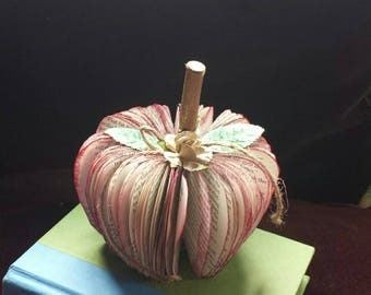 Repurposed book art apple