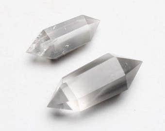 Natural grey phantom six prismatic crystal double-pointed crystal column 2 pcs