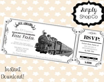 Train Ticket Invitation, invitations, invite, instant download, digital file, bridal shower, wedding, birthday, retirement, all aboard
