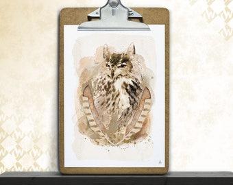 Ancient owl, art print, posters, fine art print, art print, poster art, owl, pen, watercolor