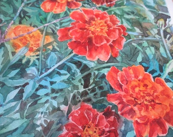 Original watercolor painting Marigolds, Original painting, Small watercolor, Watercolor original, wall art, wall decor, affordable art, gift