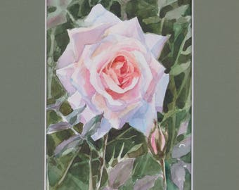 Original watercolor painting Rose, Original painting, Small watercolor, Watercolor original, wall art, wall decor, affordable art, gift