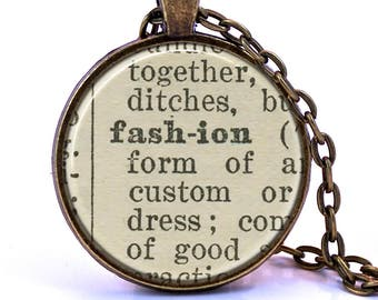 Fashion Dictionary Pendant Necklace, Gift for Fashionista, Fashion Gift, Designer Gift