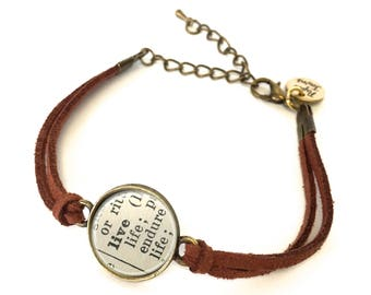 Live Dictionary Bracelet - Made from a vintage dictionary. Birthday Gift, Graduation Gift, Unique Gift, Gift for Her, Boho Chic