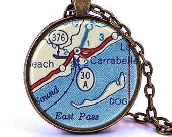 30A  Map Pendant Necklace - Created from a 1956 Map. Map Jewelry, Map Necklace, Map Pendant, Custom Jewelry, Personalized Jewelry