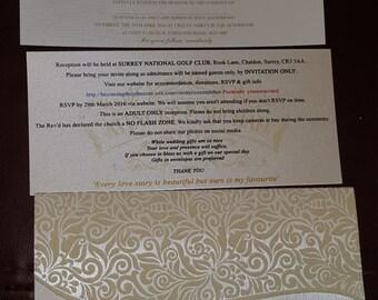 Handmade Ivory Damask wallet wedding invitation