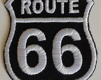 Fusible embroidered patch Route 66 shield black background