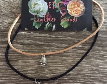Vintage sterling silver pendant, genuine leather chokers.