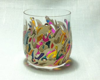 "Hand Painted wine  Glass.Wine,liquor, Glass ""Flash of color"""