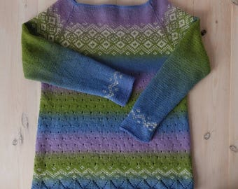 Jacquard hand-knit sweater Lilac