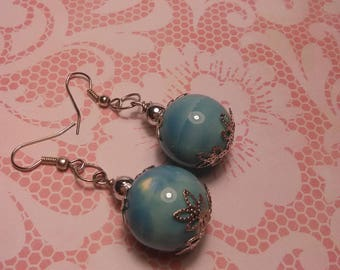 Blue Moon Bead Earrings