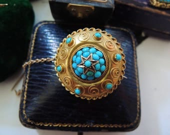 Antique Victorian Turquoise Pave Gold Target Brooch