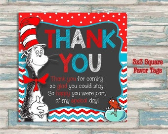 Dr. Seuss Thank You Favor Tags - 3x3 Square Thank You Cards - Party Favor Printable