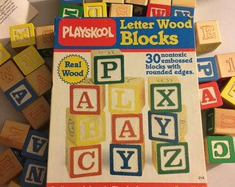 Vintage Playskool Letter Wood Blocks NonToxic
