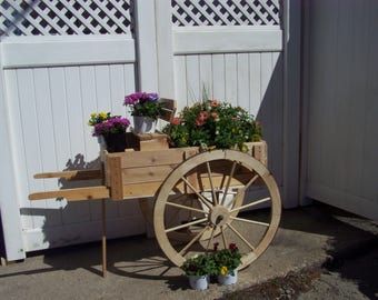 Lawn Cart with large wagon wheels steel rimed