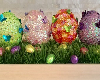 Easter Eggs with Sequins and Beads