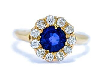Antique Diamond Sapphire Ring