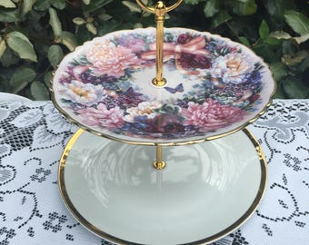 2 Tier cake plate stand. Pink flowered 'Circle of Love' Bradex plate. Wedding. Tea Party.