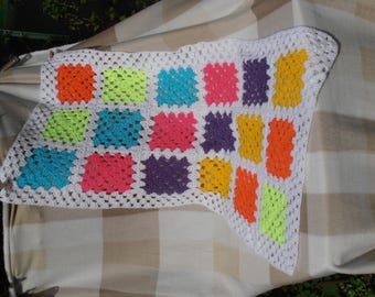 Handmade Multi-Coloured Granny Square Crocheted Baby Blanket, Cot Blanket, Wrap